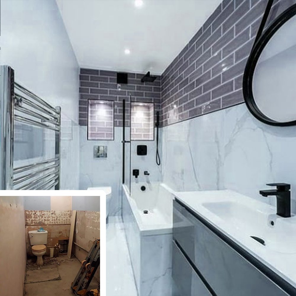 complete bathroom remodel with new toilet installed bathtub sink and tiles in new braunfels texas